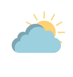 sunny cloud icon in flat style isolated vector image