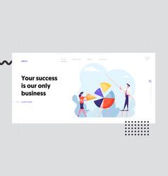 team work datum analysis website landing page vector image