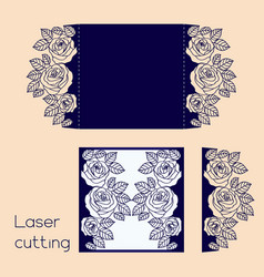 Template of wedding envelope with roses for laser vector