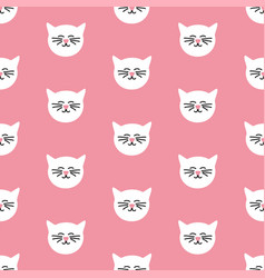 Tile pattern with cats on pink background vector