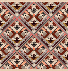 tiled rhombus tribal seamless pattern vector image