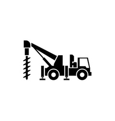 Truck drilling flat icon vector