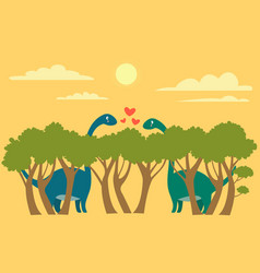 two cute brachiosaurus dinosaurs met eyes on the vector image