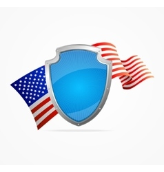 USA Flag and Shield vector image