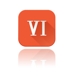Vi roman numeral orange square icon with vector