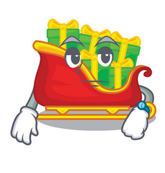 waiting christmas santa sleigh isolated on mascot vector image