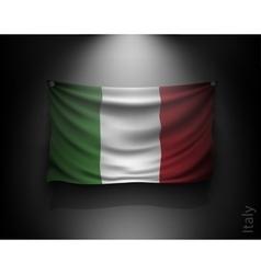waving flag italy on a dark wall vector image