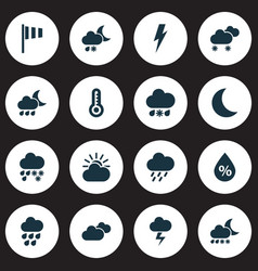 Weather icons set with humidity storm heavy rain vector