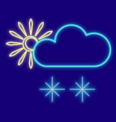 weather sun clouds snowflakes vector image