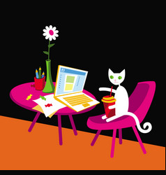 White cat publishes a post on social media vector