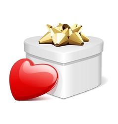 white heart gift with heart present vector image