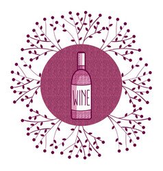 Wine round symbol with leaves vector