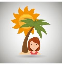woman sun palm beach vector image