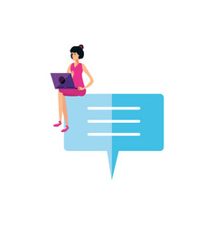 young woman using laptop in speech bubble vector image