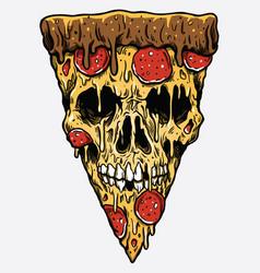 zombie skull pizza slice vector image