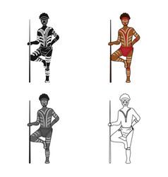 astralian aborigine icon in cartoon style isolated vector image
