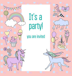 bright birthday party card with unicorns sweets vector image