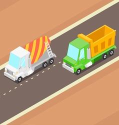 Cartoon Isometric Trucks vector image vector image