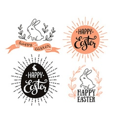 Easter set with lettering sunburst and rabbit vector image vector image