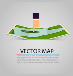 paper map sign with pointing hand vector image