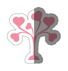 Pink tree leaves shape hearts lovely shadow vector