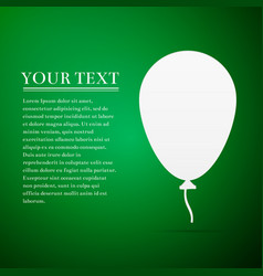 balloon with ribbon flat icon on green background vector image