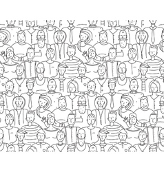 Black and White People Throng Seamless Background vector image