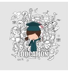 Girl graduated pupils back of school background vector image