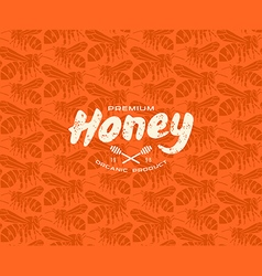 Honey bee seamless pattern and label vector image vector image