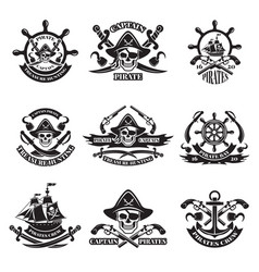 Monochrome pictures of pirate labels vector