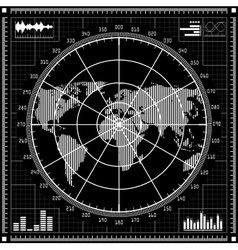 Radar screen Black and white vector image vector image