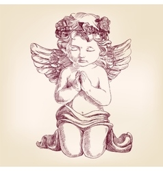 angel prays on his knees hand drawn vector image vector image
