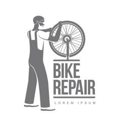 bicycle repair workshop logo template vector image