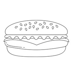 black and white burger hamburger cheeseburger fast vector image