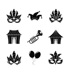 circus carnaval icons set vector image