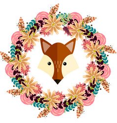 fox and floral wreath separated vector image