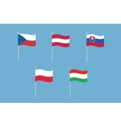 National flags of Czech Republic Austria vector image