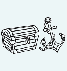 Chest and anchor vector image