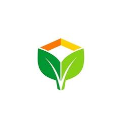 green leaf eco botany logo vector image vector image