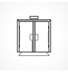 Indoors glass door black line icon vector image