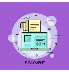 Modern minimal flat thin line e-payment concept vector image