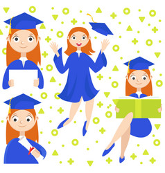 set a graduate with a diploma vector image
