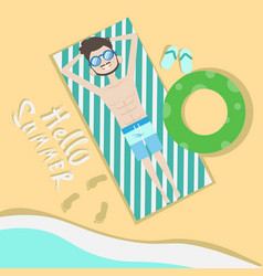 tourist man lying on beach top angle view hello vector image vector image