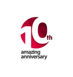 10 th amazing anniversary celebration template vector