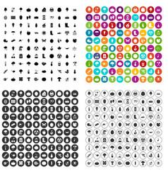 100 garden icons set variant vector