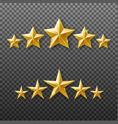 5 gold stars rating set isolated on transparent vector image