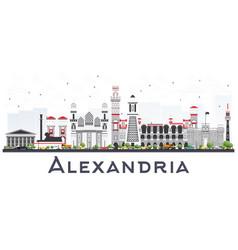 Alexandria egypt city skyline with gray buildings vector