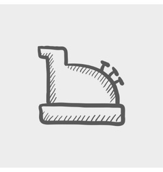 Antique cash register sketch icon vector