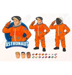 Astronaut mascot design wearing orange suit vector