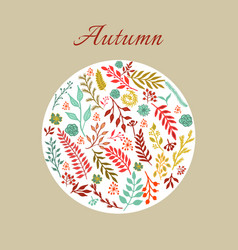 autumn round floral pattern vector image
